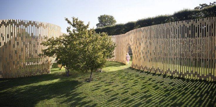 clôture de jardin ultra moderne en bois clair