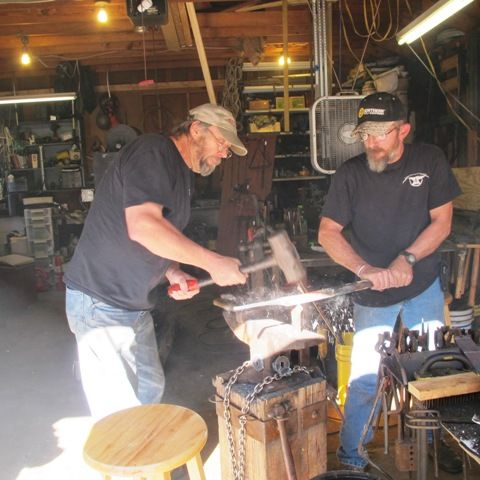 Keith and Clay cutting the stock