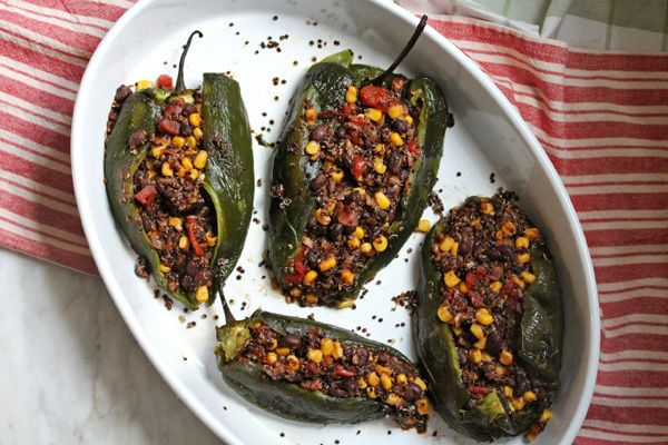 quinoa and chili stuffed poblanos | what's cooking good ...