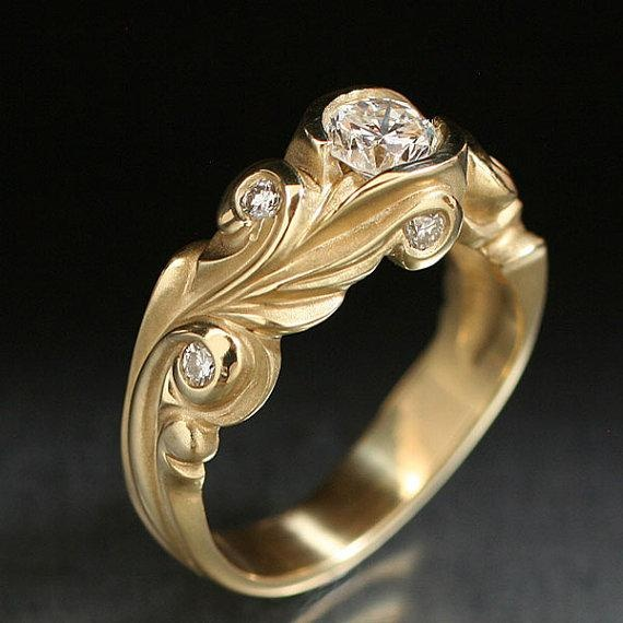 yellow gold anne wedding ring set