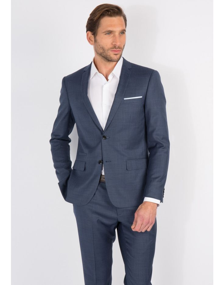veste de costume slim bleue chambray chambray homme father and sons 1 - Costume Jaquette Mariage