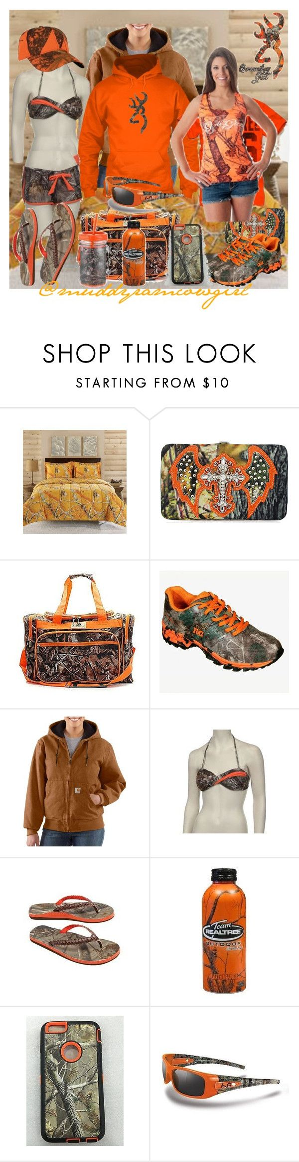 """Orange Realtree"" by muddyramcowgirl ❤ liked on Polyvore featuring Realtree and INC International Concepts"