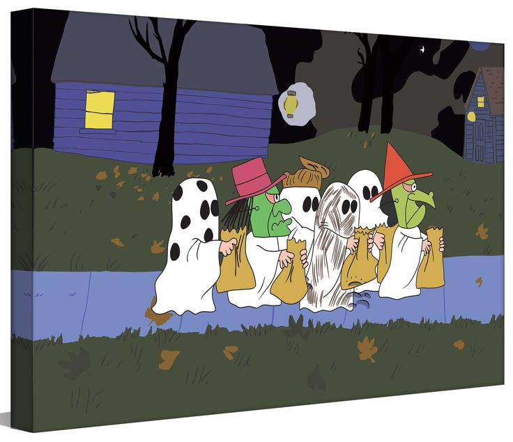 Marmont Hill Peanuts Halloween by Charles M. Schulz Graphic Art on Wrapped…