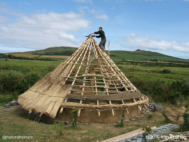 The Celts built their roundhouses from the natural materials available on the land. This is a roundhouses at Felin Uchaf.
