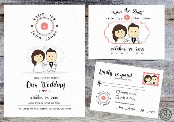 Portrait Wedding Invitation (White) Printable Invites Rustic Cute Fun Anime Cartoon Style Kawaii - Custom Invitation RSVP Save the Dates