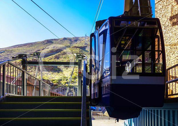 Qdiz Stock Photos Cableway or Funicular Cabine on Platform