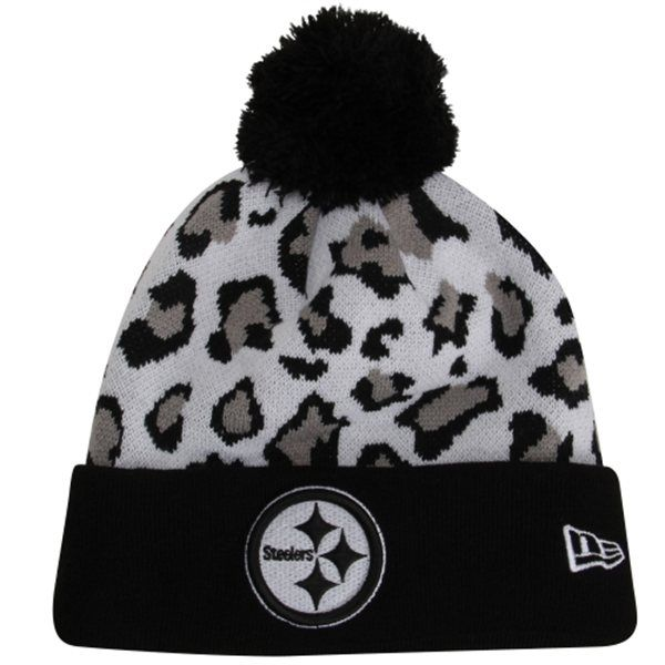 New Era Pittsburgh Steelers Team Leopard Cuffed Knit Hat with Pom