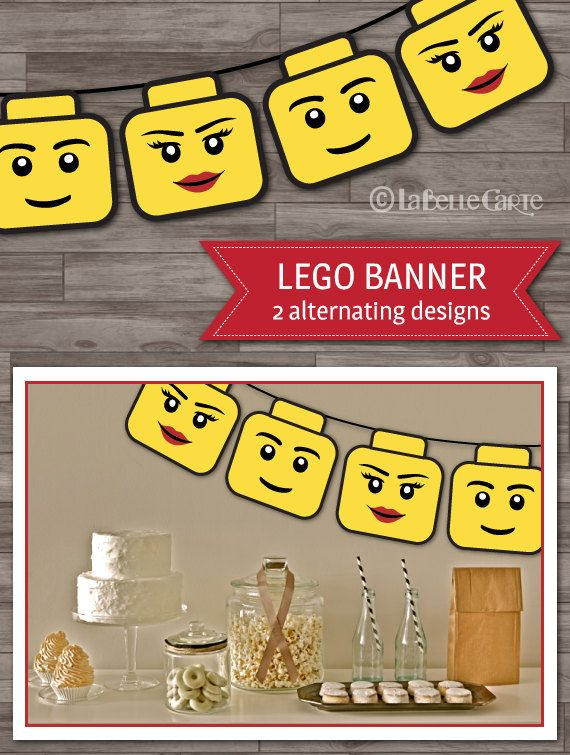 Lego Party Banner, Lego Birthday Party Decoration, Boys Party, Lego Banner Bounting, Party Supplies - Digital files: INSTANT DOWNLOAD