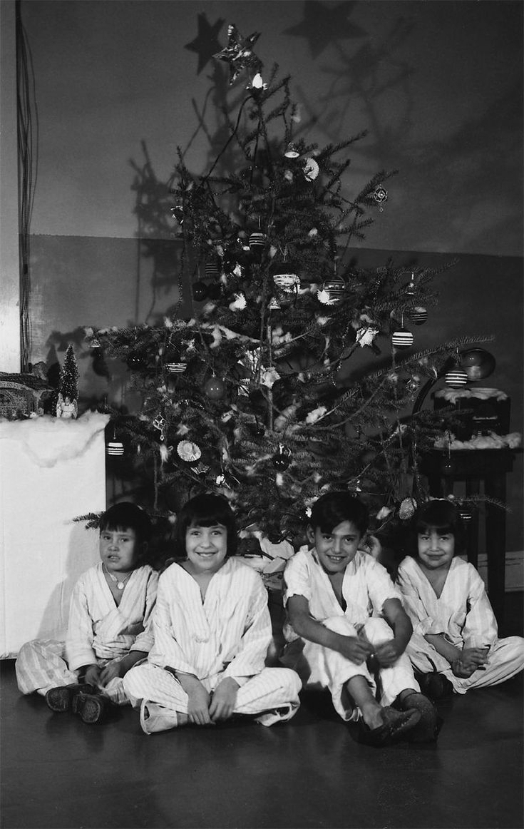 An old photograph of Christmas at Rosebud Indian Hospital - Rosebud Reservation South Dakota