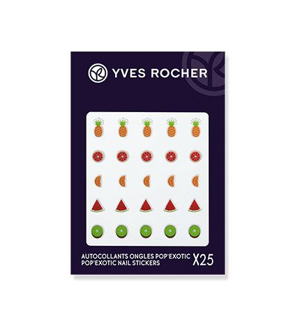 Yves Rocher Pop Exotic Nail Stickers - http://47beauty.com/nails/index.php/2016/09/16/yves-rocher-pop-exotic-nail-stickers/ Yves Rocher Pop Exotic Nail Stickers  Dare to bring an exotic touch to your nails with POP�EXOTIC Nail Stickers! Discover 5 fruity designs to stick on your nails for fun and colorful nail art. Bonus +: Apply with our new Botanical Color Nail Polish colors for a pop, ultra-trendy look! Dispose after use. List Price: Price: 6.00