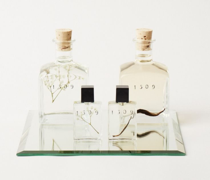 1509 Fragrance Collector's Item by 1509 | Naturally distilled amber oil preserved with baby's breath bud and clove of sage, mirror and quill. Available at HomeMade NYC.