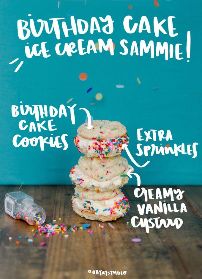 Swell Birthday Cake Ice Cream Sammie Recipe Ice Cream Birthday Cake Funny Birthday Cards Online Elaedamsfinfo