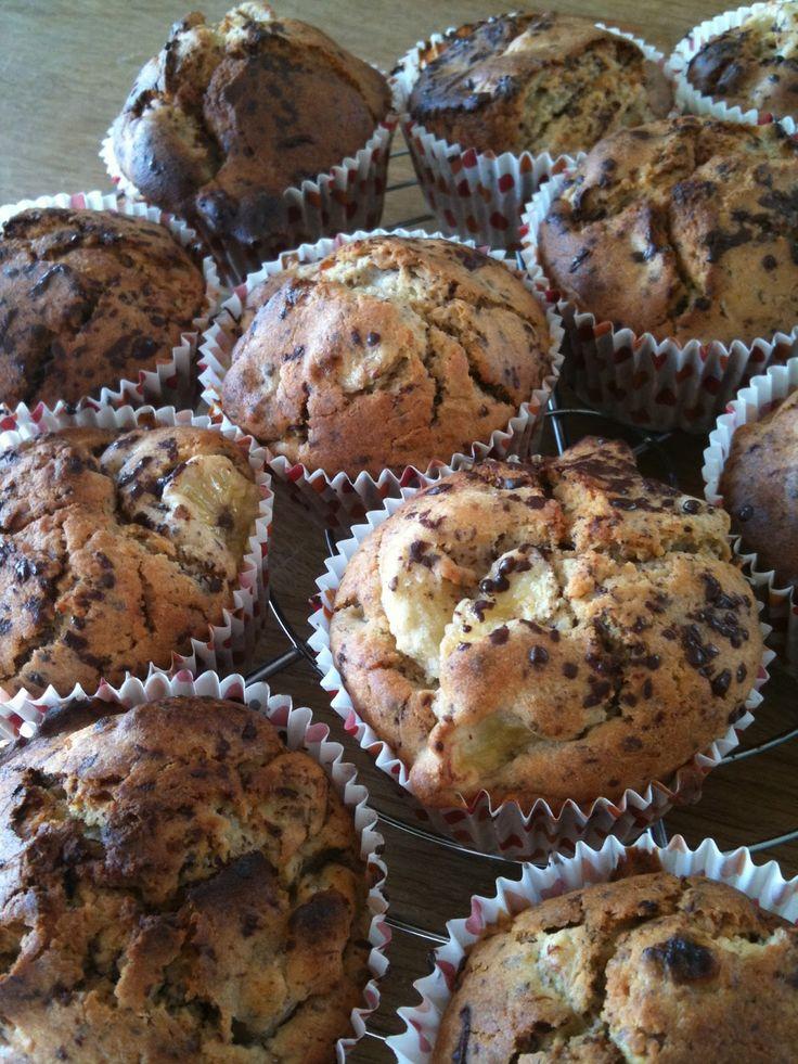 zondersuiker: Chocolade-banaan muffin.