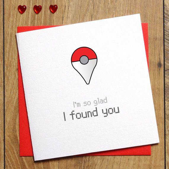 Pokemon Go Card - I'm so glad I found you Card - Love Card - Anniversary Card - Etsy - Jessica Scissorhands