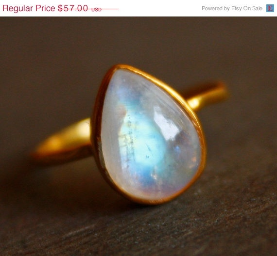 WINTER SALE White Moonstone Ring - Teardrop - Vermeil Gold, Stacking Ring, June Birthstone, June Birthdays. $48.45, via Etsy.