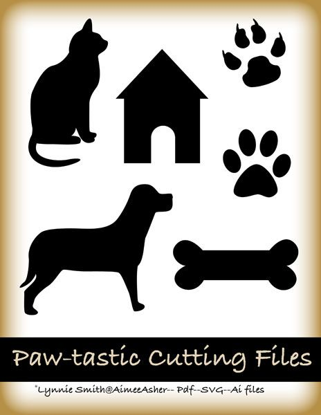 Dog, cat, paws, bone. Free SVG Cutting files, Free cutting files.