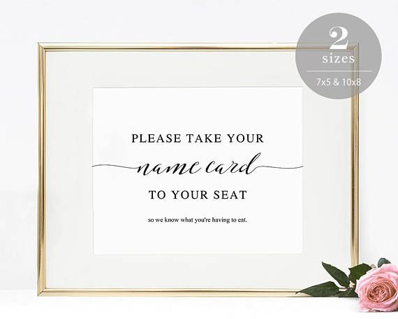 Wedding Escort Card Sign Take Your Name Card Sign Place