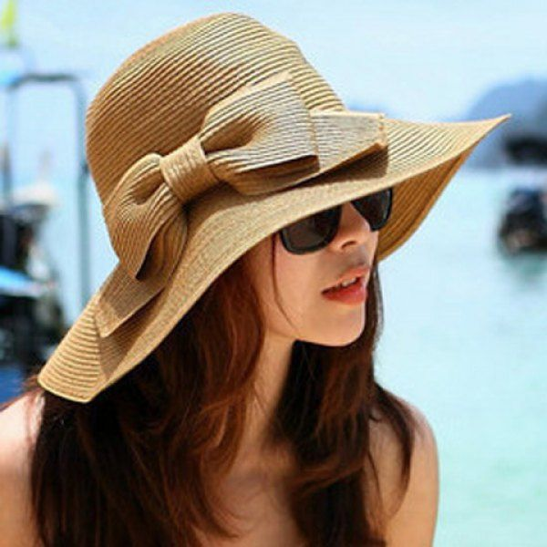 Chic Weaving Bowknot Embellished Sun Hat For Women  01a68657ec73