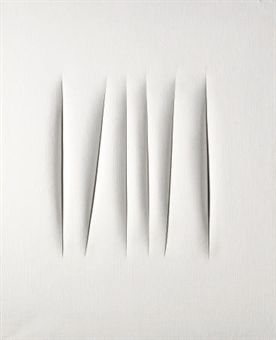 Lucio Fontana, 'Concetto spaziale' Oil on canvas 36x28 in (1960)