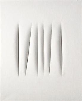 Lucio Fontana, 'Concetto spaziale' Oil on canvas 36x28 in (1960) _