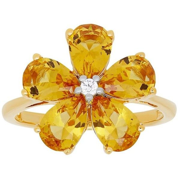David Tutera 14k Gold Over Silver Simulated Citrine & Cubic Zirconia... ($50) ❤ liked on Polyvore featuring jewelry, rings, yellow, cz rings, silver rings, gold cubic zirconia rings, citrine rings and yellow citrine ring