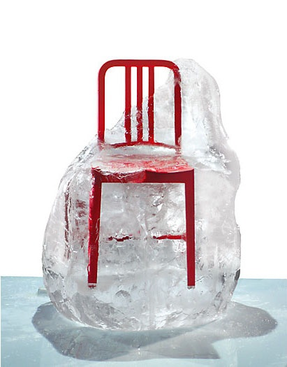 111 Navy Chair by Emeco (on ice).