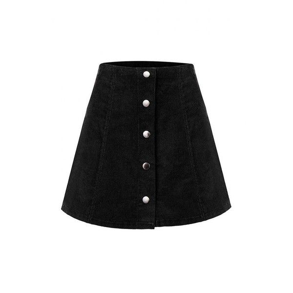 Yoins Yoins Black Button Through A Line Skirt ($14) ❤ liked on Polyvore featuring skirts, mini skirts, bottoms, yoins, faldas, black, black a line mini skirt, short mini skirts, black miniskirt and corduroy skirt