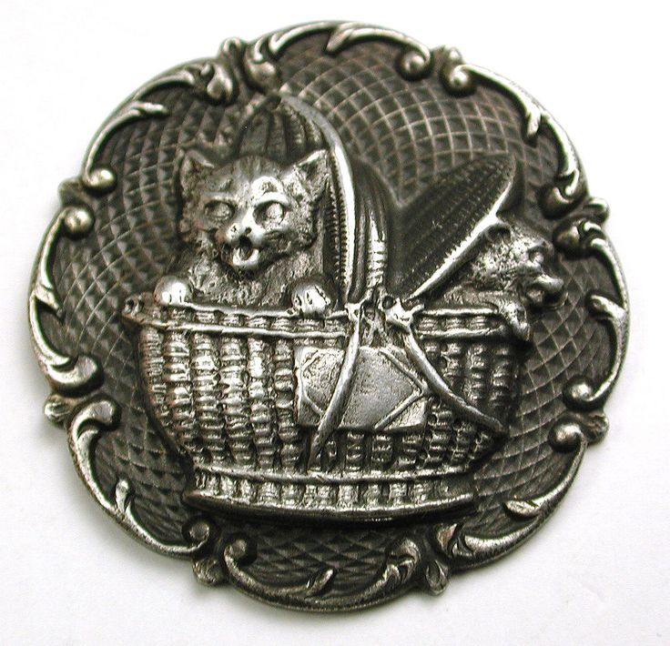 "Old French Metal Button 2 Cats Kittens in a Basket 1 & 7/16"" Texture Back Ground"