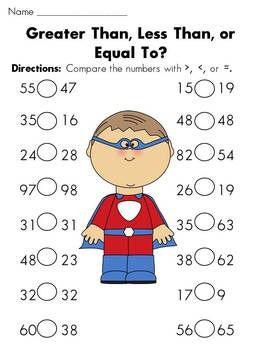 44 pages-- Greater Than Less Than Equal to HUGE Superhero Themed Packet... 1, 2, and 3 digit worksheets and activities to help teach!