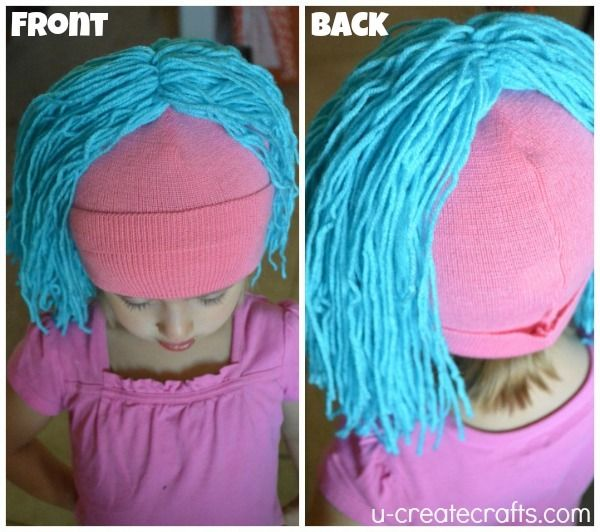DIY Yarn Wig Tutorial 7 | make longer and with red yarn for Sally costume