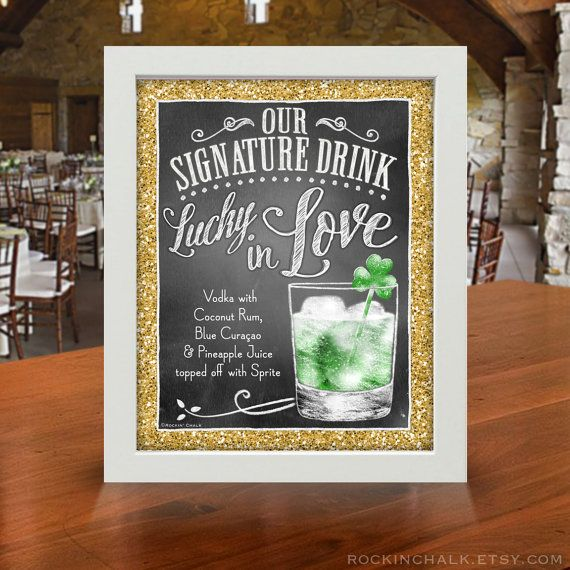 "Personalized Signature Drink Signs | 8""x10"" Chalkboard Style UNFRAMED Prints 