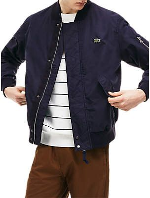 8312cc5aae Lacoste Lightweight Textured Cotton Bomber Jacket, Bright Blue ...