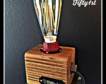 """Lámpara de escritorio rústico """"lil pete"""", reclama la luz de wood, lámpara de mesa de Industrail, buld de LED Edison, Touch dimmer"""