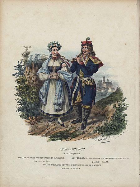 Poles. Krakowiacy . Ubior swiateczny. 1841 Jan Nepomucen Lewicki (1795-1871)