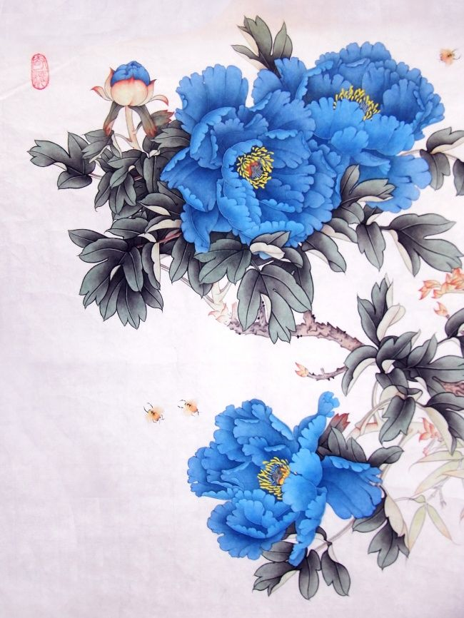 Blue Peonies | Blue Peony with traditional Chinese painting picture download, blue ...