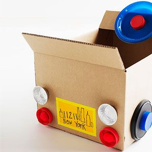Cardboard Box Car: Back Bumper    Have your tot personalize his cardboard car by helping him create a fun license plate.