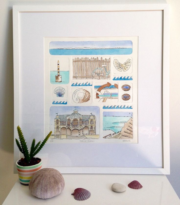 Mermaid's Coin Cottesloe Glimpses  hand pulled collagraph, and hand painted watercolour