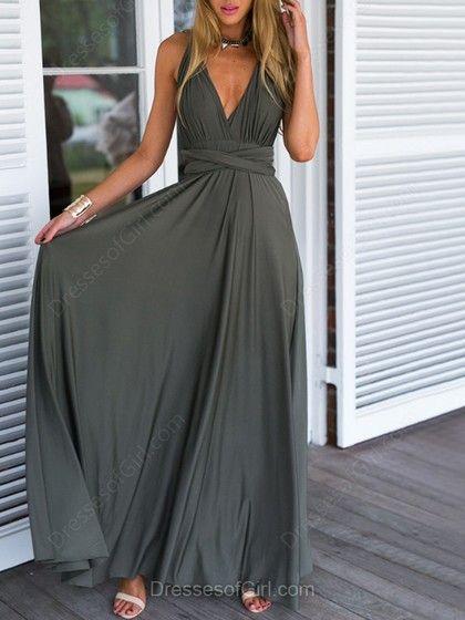 A-line V-neck Chiffon Floor-length Ruffles Backless Informal Prom Dresses
