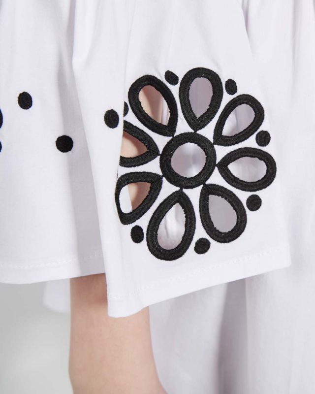EMBROIDERED WHITE SHIRT WITH BLACK FLOWERS-zoom