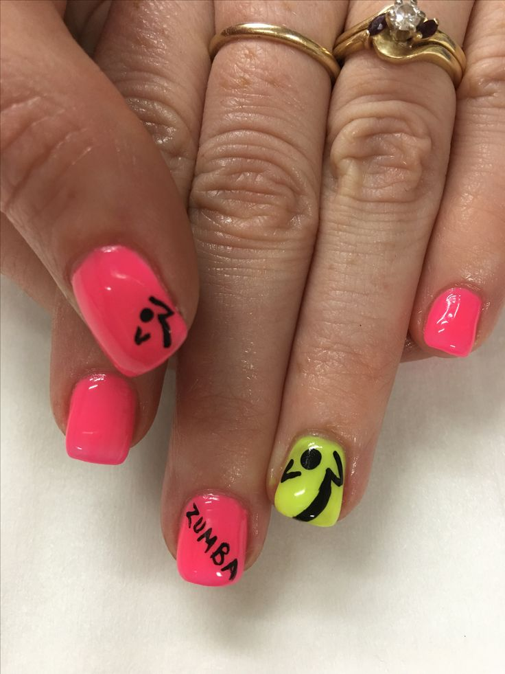 neon pink & yellow zumba gel nails