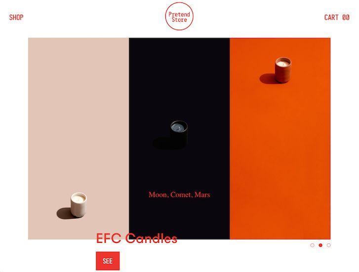 Veldig kul og enkel, virker eksklusiv     Ecommerce Website Design - Pretend Store