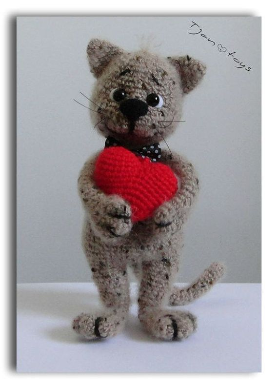 Kitten with Heart Valentines Day gift OOAK Stuffed ...