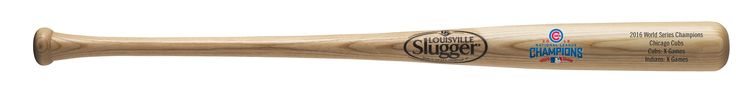 """Chicago Cubs Bat - 34"""" - Natural with Logo & Game Stats - 2016 World Series Champs"""