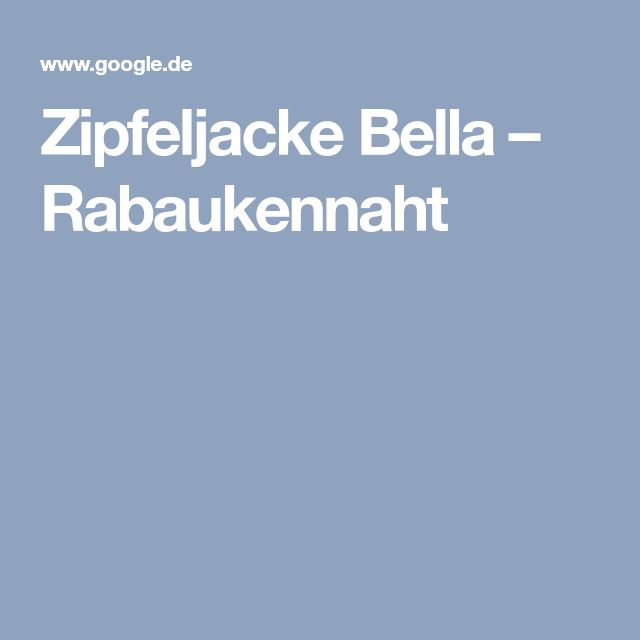Zipfeljacke Bella – Rabaukennaht