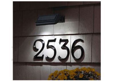 Solar light on house numbers...  great idea, would make it so much easier to find houses at night