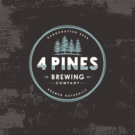 4 Pines Brewing Logo i like how they incorporate their values into the logo. simple and humble - i relate to this marketing