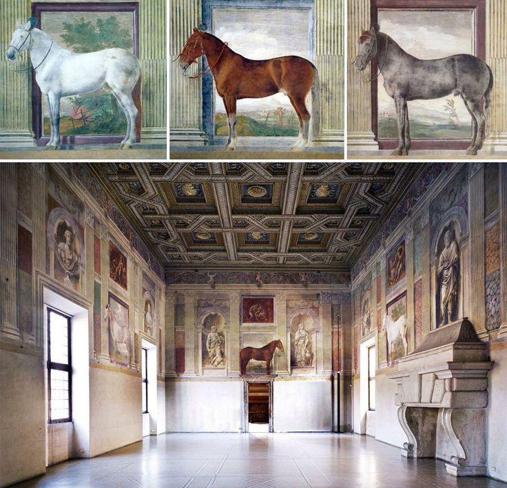 Giulio Romano, sala dei cavalli, affreschi a Palazzo Te, Mantova