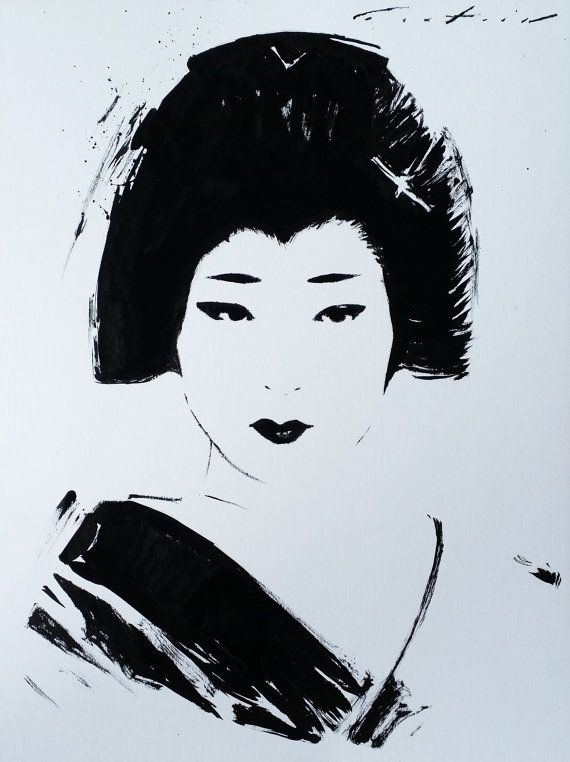 This is a portrait of Umeha, a geisha from the Kamishichiken district of Kyoto, Japan.  Made with Japanese sumi ink on poster board.  All of my artwork is signed, comes with a certificate of authenticity and is securely shipped using Japan Post EMS with tracking.