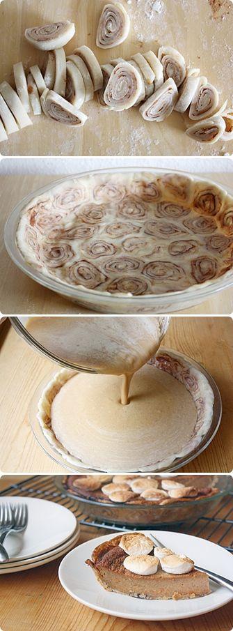 Sweet Potato Pie with Cinnamon Roll Crust