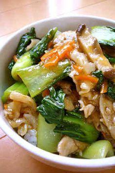 豚肉とチンゲンサイ中華丼
